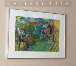 Cool Mid Century Modern Original Abstract Painting Watercolor Pastel Art Vtg