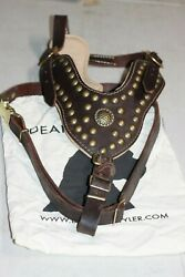 Dean & Tyler THE ROYAL STUD Nappa Leather Dog Harness Brass Chest Plate X-Large