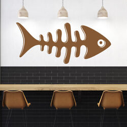 Fish Skeleton Fishing Sign Wall Decal Sticker Ws-46770