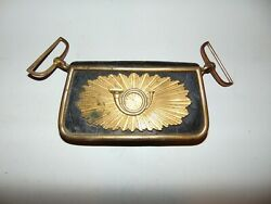 Vintage Cartridge Pouch Artillery Officers Leather Brass Ammo Box Military Bugle
