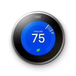 n > Programmable Thermostats 3rd Gen in Stainless Steel temperature reader