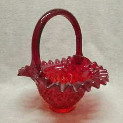 Daisy And Button Fenton Art Glass Red Basket