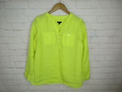 Talbots women's size S Petite 100% Linen Bright Yellow Pop Over 34 Sleeve Top