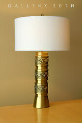Rare Mid Century Modern Brass Table Lamp Gold Vtg 50and039s 60and039s Atomic Decor Retro