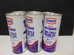 Vintage 1970and039s Texaco 50-1 Outboard Two-cycle Engine Oil Sae 20 6 Pack Oil Cans