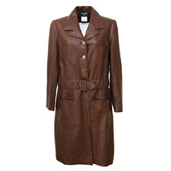 Cc Logos Long Sleeve Coat Brown Leather 42 Vintage Authentic S09309i