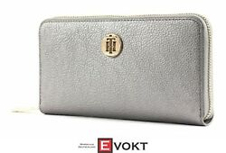 Th Core Large Zip Around Wallet Purse Pewter Silver New