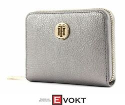 Th Core Compact Zip Around Wallet Purse Pewter Silver New