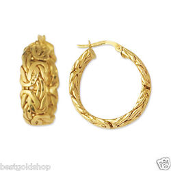 Technibond Byzantine Hoop Earrings 14K Yellow Gold Clad Sterling Silver 925