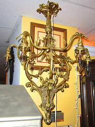 C1910and039s Antique Gilt-bronze 7-light Birdcage Chandelier French Ormolu Re-wired