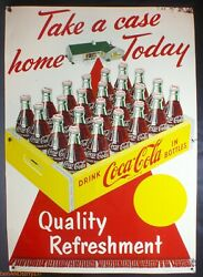 Coca Cola Take A Case Home Today Red Carpet 1959 Vintage Sign