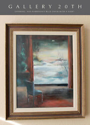 Blue Chair With A View Expressionist Orig. Oil Painting Vtg 60s Harrison Art