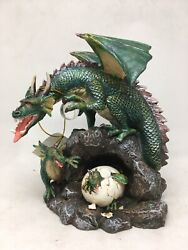 Medieval Legends Figurine - Dragon Holding Crystal Orb And Baby Dragons
