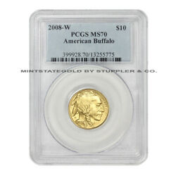 2008-W $10 Gold Buffalo PCGS SP70 graded modern American Burnished 1/4oz MS70