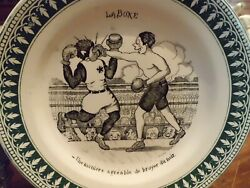 Antique French Boxing Black Americana Style Collectable Plate 7.75dia.