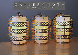 Mid Century Danish Modern Hanging Swag Lights Lamps Brass Vtg Atomic Space Age