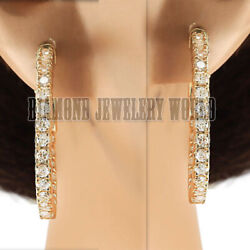 2.93cts Natural Diamond 14kt Yellow Gold Gorgeous Wedding Hoops Earring Jewelery