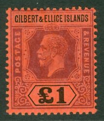 Sg 24 Gilbert And Ellice Islands 1912 - 24 Andpound1 Purple And Black/red A Fine Unmout...