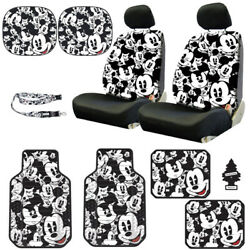 For Vw New Mickey Mouse 14pc Car Seat Covers Floor Mats And Accessories Set