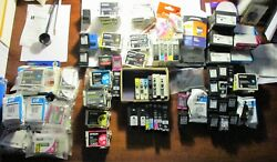 Lot Of 112 Mixed Printer Ink Cartridges, New And Mostly Used. Various Brand Names.