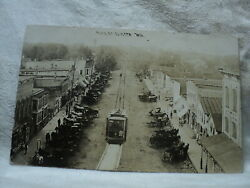 Clinton Wi Wisconsin Main Street W/ Trolley Early 1900and039s Rppc Postcard