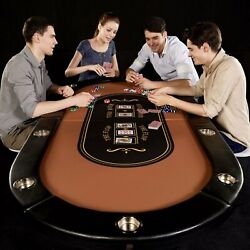 10-player Poker Table Folding Portable Casino Game Card Table Texas Hold Em Play