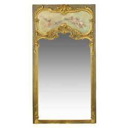 FRENCH ANTIQUE MIRROR | Oil Painting of Cherubs over Full Length Mirror, 19th C