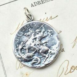 St George Medal - Sterling Silver Antique Replica