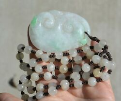 Vintage Chinese Jade Jadeite Carved Carving Linchi Plaque Pendant Bead Necklace