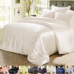 25momme 100 Silk Seamless Duvet Quilt Cover Sheets Pillow Case And Set Queen Size