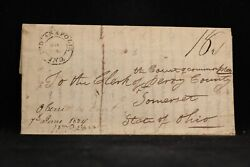 Indiana Indianapolis 1824 Stampless Cover 1st Cds In Black Marion Co
