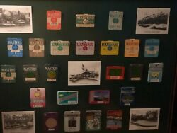Masters Series Badges 1981 Through 2003 And 1974 - Brown Frame And Postcards