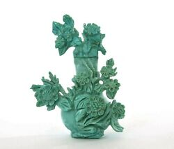 Old Chinese Turquoise Carved Carving Snuff Bottle Relief Flowers