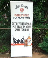 Jim Beam Bourbon Retractable Ad Banner Man Cave Game Night Sports Party 81 Tall
