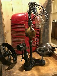 Steam Punk Lamp W/ Antique Rockwell Meter And Redington Numbering Machine