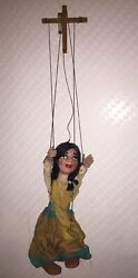 """Rare Mexican Girl Vintage Marionette Puppet 14"""" Tall"""