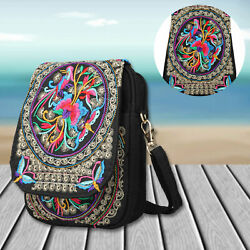 Women Lady Cell Phone Bag Retro Embroider Purse Messenger Crossbody Bags Wallet $14.28