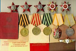 Soviet Banner Medals 3 Order Of The Red Star Documents Tanks Gpw 1571