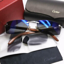 Authentic Cartier Full Pattern Embossed Wood Sunglasses 140B Mirror Lens