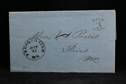 Maine Presque Isle 1853 Stampless Cover, Paid 3 Great Letter, Aroostook Co