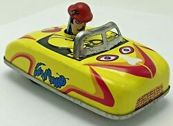 Vintage Torpeauto Race Car Dyno Press Down Tin Toy Yellow Rooster Caterpillar