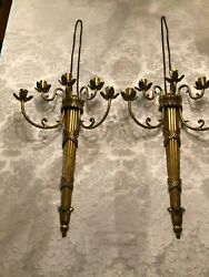 Pair Of Brass 5 Arm Candle Wall Sconces