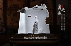 Chinese White Glaze Dehua Porcelain Pottery Young Women Girl Zither Sculpture
