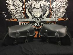 New 09-12 Indian Chief Black Leather Saddlebags