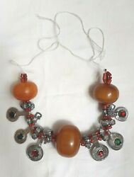 Antique Moroccan Berber Necklace African Amber Jewelry Handmade Very Rare