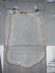Strand Of Pearls Necklace 18 Long Cream Rose 7.5 X 7 Mm. Beautiful.andnbsp