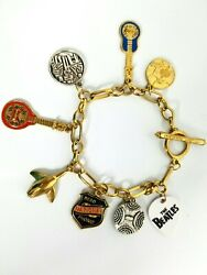 Rare The Beatles Charm Bracelet Reso Tribute Lucky Brand Collectible Marked