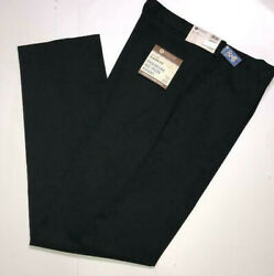 HAGGAR Premium No Iron Pants Classic Fit Expandable Waist Big Tall Stretch Black