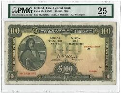 1946 IRELAND 100 Pounds Central Bank P-62a PMG 25 VF VERY RARE Date