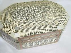 Vintage Bovine Bone Abalone Shell Mop Intricate Inlay Eight Sided Hinged Box